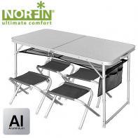 Стол складной Norfin RUNN NF алюминиевый + 4 стула (NF-20310)